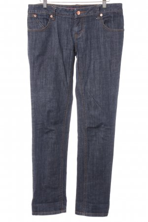 Springfield Slim Jeans anthrazit meliert Logo-Applikation aus Leder