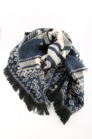 Springfield Knitted Scarf cream-blue graphic pattern casual look