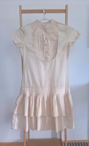 Springfield Tunika Kleid, Beige mit grüne Punkte, für kleine Ballerinas.