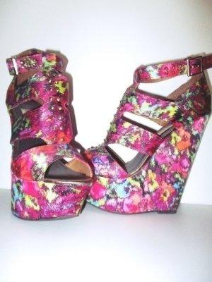 Wedge Sandals pink-light blue