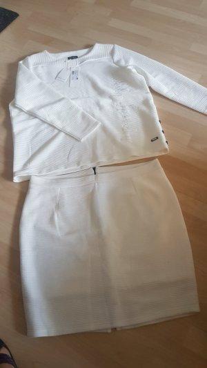Twin set in tessuto bianco sporco