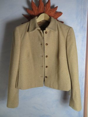 St. Emile Camel Coat - Tweed Blazer - Kurz Jacke - Gr. 38 - Schurwolle - Gemustert