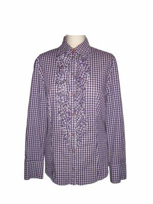 ST.EMILE Karo Bluse Vichykaros lila violett weiß kariert Baumwolle Gr. 40 L neu
