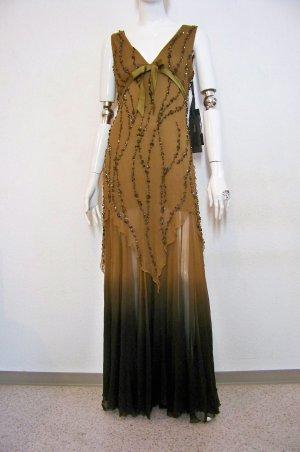 St. Emile Kleid Abendkleid Ballkleid Seide Pailletten Perlen neu