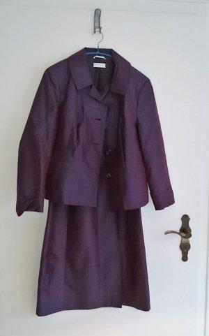 St. Emile Kleid Abendkleid Etuikleid mit Jacke aubergine violett schwarz festlich Gr. 42/44