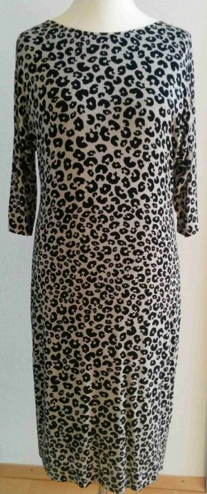 St. Emile Kleid Etuikleid Animaldesign Leopard schwarz-natur Viskose edel Gr. 42 NEU