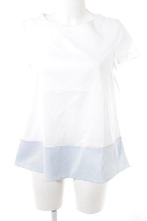 St. emile Kurzarm-Bluse weiß-himmelblau schlichter Stil