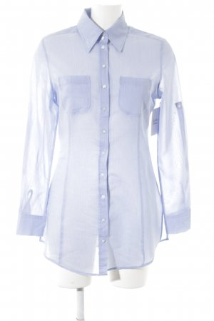 St. emile Langarm-Bluse weiß-hellblau Streifenmuster klassischer Stil