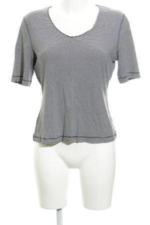 St. emile V-Ausschnitt-Shirt weiß-schwarz Ringelmuster Casual-Look