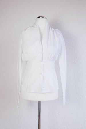 St-Martins Bluse glatter Kragen Knöpfe Weiß Chic M 38 Gerafft am Rücken