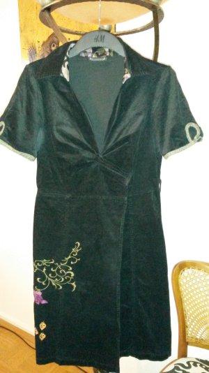 st-martins Kleid Samt Cord schwarz Stickerei Gr. 40/L