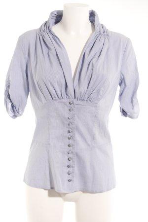 St-martins Kurzarm-Bluse dunkelblau-weiß Nadelstreifen Elegant