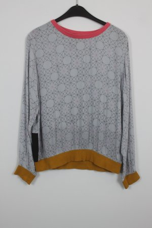 St Martins Oberteil dünner Pullover Gr. 42 grau mit symmetrischem Muster (18/7/202)
