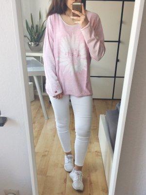 ST. MORITZ Pullover Pulli Sweater rosa weiß Gr. 44 oversized
