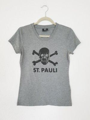 ST PAULI T-SHIRT TOTENKOPF GRAU skull gr M