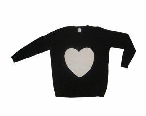 St. Tropez Pullover Pulli Herz schwarz weiß L XL 40 42 wie neu