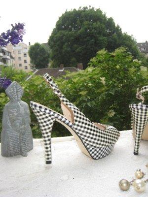 Staccato´ Kult High Heels Vichy Caro Black & White Pepita Stilettos 13 cm NP 189 € Top Neu