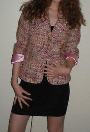 STACCATO Tweed Blazer Jacke Karo klassich Tweedblazer 34 36 38 XS S M altrosa mehrfarbig wie neu EDEL