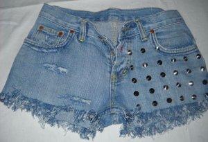 Stachel Nieten Hot Pants Shorts kurze Hose h m blau Jeans 34 36 XS S destroyed