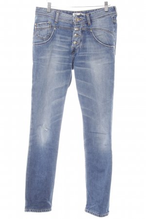 Staff & Co Slim Jeans stahlblau Destroy-Optik
