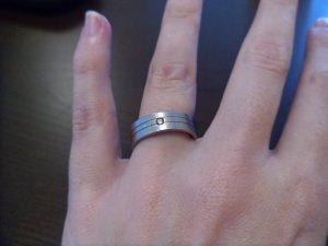Stahl-Ring mit Swarovski-Kristall