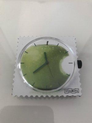 Stamps Uhr Apfel / Apple weiß grün