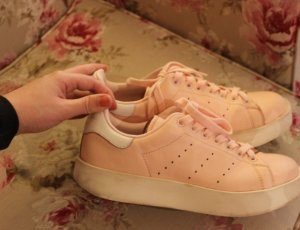 Stan Smith mit Plateu in rose