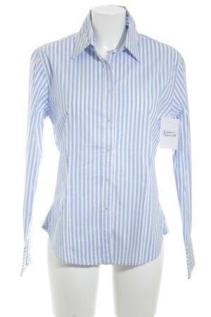 Stanfield Langarmhemd weiß-hellblau Streifenmuster klassischer Stil