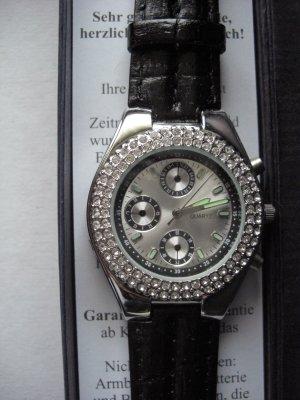 Horloge met lederen riempje zwart Leer