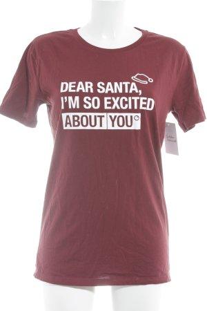 Stanley & Stella T-Shirt karminrot-weiß Schriftzug gedruckt Casual-Look