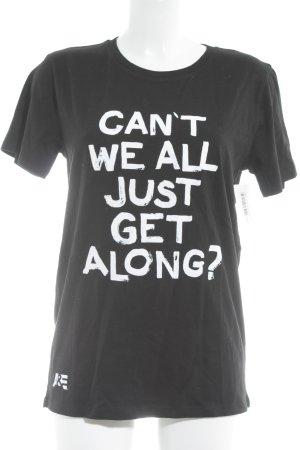 Stanley & Stella T-Shirt schwarz-weiß Schriftzug gedruckt Casual-Look