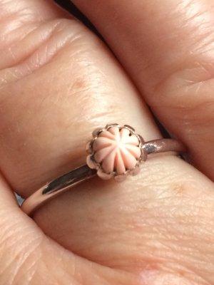 Zilveren ring stoffig roze Zilver