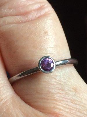 Zilveren ring lila Zilver