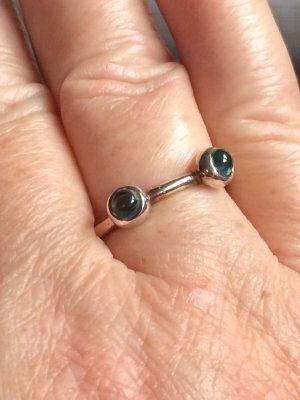 Zilveren ring zilver-neon blauw Zilver