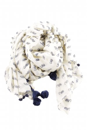 Star mela Fringed Scarf white-blue allover print casual look
