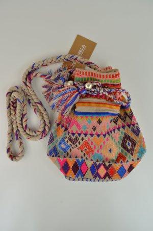 STAR MELA Tasche Beutel Hippie-Beutel BOBI POUCH Ecru/ Mulite Bunt Bommel Stick