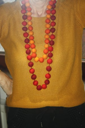 Unikat Collier saumon-orange clair laine vierge