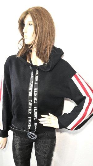 Statement Blogger Hoodie mit Kapuze knit Streifen Onesize schwarz von YU& ME