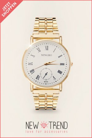 Statement Blogger Uhr Classy Watch Gold Strass Gold Fashion 2014 Weiß