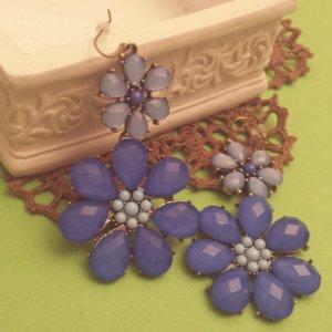Statement bronze Blumenohrringe, Hänger, blau Blüten, Steine, Zara, NEU