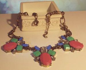 Statement bronze Gliederkette, blau grün silber violett Steine, Vintage, Zara