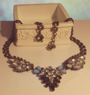 Statement bronze Gliederkette Flügel silber schwarz blau Steine Vintage Zara
