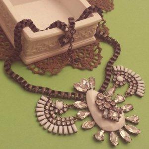 Statement bronze Gliederkette, oval Kragen, weiß silber Steine, Blogger Zara NEU
