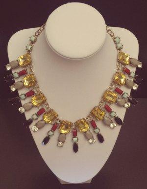 Statement bronze Gliederkette, schwarz silber türkis grau gelb rot Steine, Zara