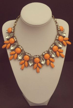 Statement bronze Ohrringe, neon-orange silber Steine, Zacken, Vintage, Zara
