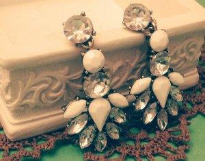 Statement bronze Ohrringe, weiß silber Steine, Tropfen, elegant, Vintage, Zara