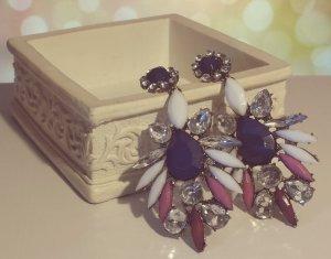 Statement bronze Ohrringe, weiß silber violett dunkelblau Steine, Zacken Zara