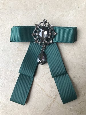 Brooch forest green-silver-colored