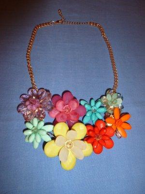 Statement - Colliers mit bunten Blumen - neu - letzte Reduzierung!