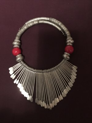 Collier zilver-donkerrood